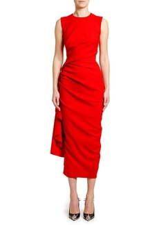 Alexander McQueen Ruched Crepe Cocktail Dress