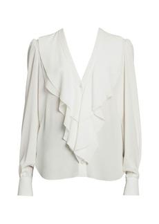 Alexander McQueen Ruffle Front V-Neck Silk Blouse