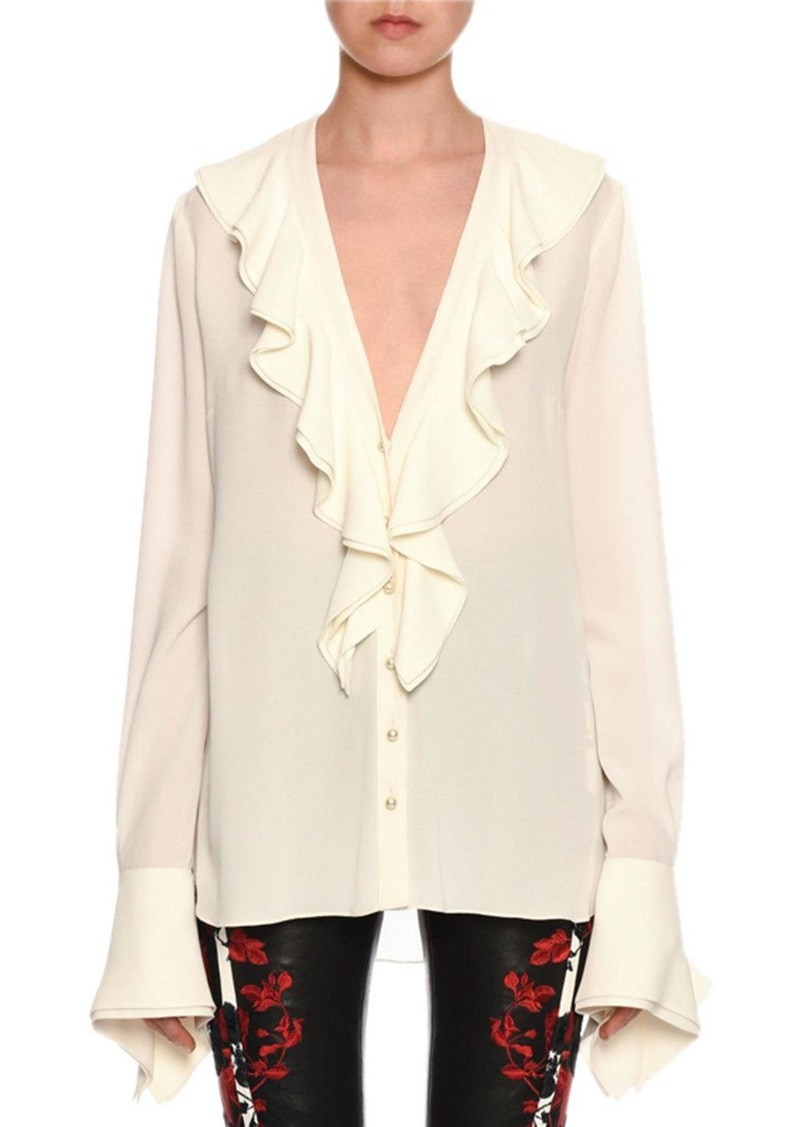 Alexander McQueen Ruffle-Trimmed Button-Front French-Cuff Silk Blouse