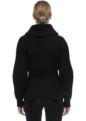 Alexander McQueen Ruffled Cashmere Blend Knit Cardigan