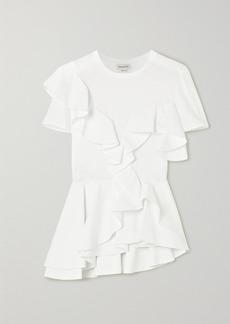 Alexander McQueen Ruffled Cotton-jersey And Poplin T-shirt