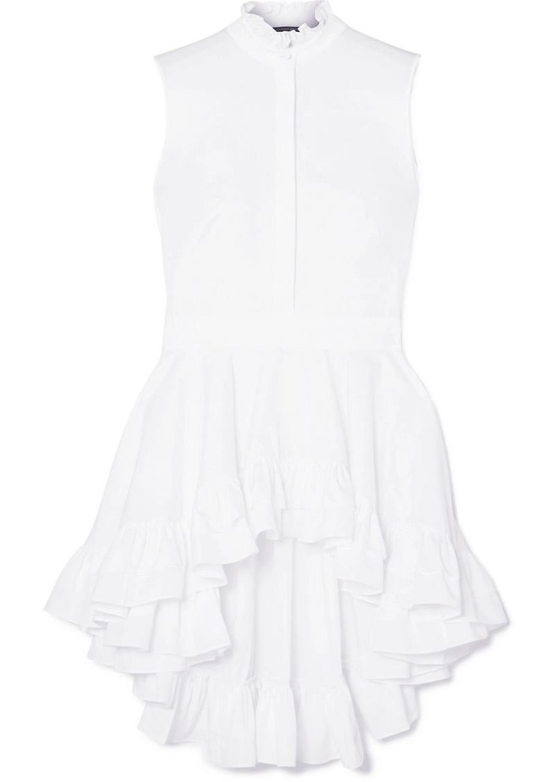 Alexander McQueen Ruffled Cotton-poplin Top