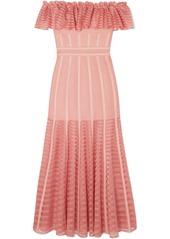 Alexander McQueen Ruffled Off-the-shoulder Mesh-paneled Knitted Dress