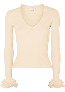 Alexander McQueen Ruffled Ribbed-knit Sweater