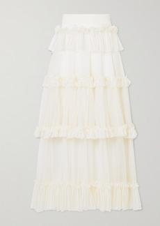 Alexander McQueen Ruffled Silk-trimmed Ribbed-knit Midi Skirt