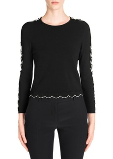 Alexander McQueen Scallop Trim Three-Quarter Sleeve Sweater