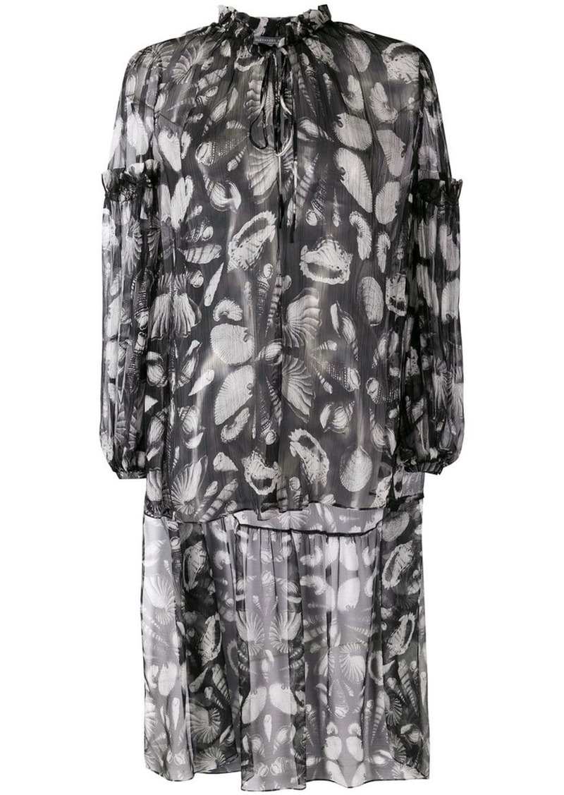 Alexander McQueen seashell print high-low blouse
