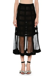 Alexander McQueen Sheer-Grid Mesh Tea-Length Pull-On Skirt