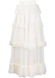 Alexander McQueen sheer panel ruffled tiered skirt