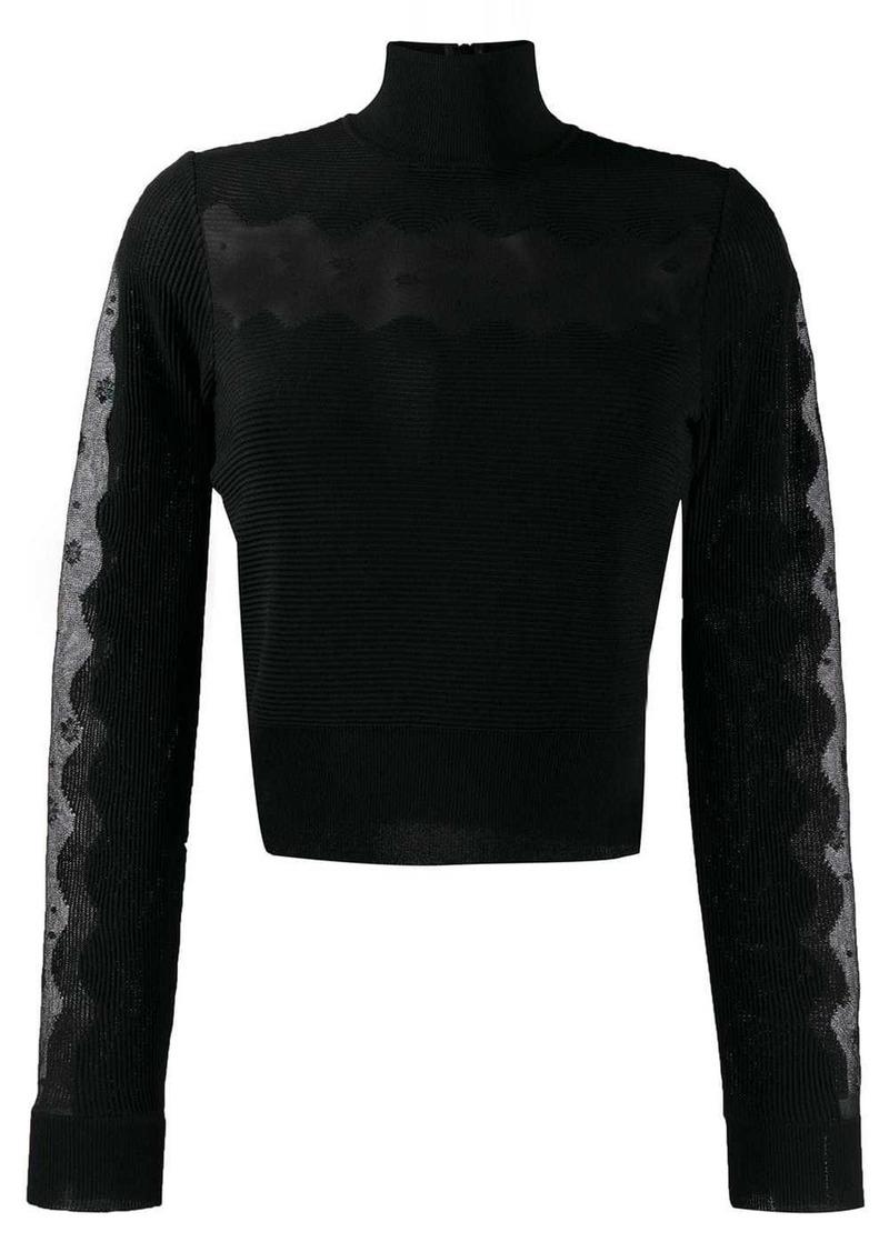 Alexander McQueen sheer panel turtleneck jumper