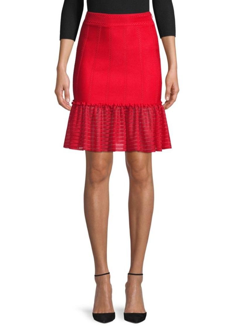 Alexander McQueen Sheer-Trim Flute Mini Skirt
