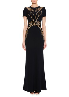 Alexander McQueen Short-Sleeve A-Line Evening Gown with Sequin Orchid Embroidery