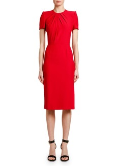 Alexander McQueen Short-Sleeve Crepe Sheath Dress