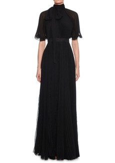 Alexander McQueen Short-Sleeve Tie-Neck Open-Back Plisse Pleated Silk Evening Gown