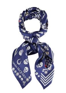 Alexander McQueen Silk Jeweled Skull Print Scarf