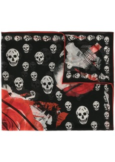Alexander McQueen silk rose and skull printed scarf