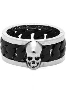 Alexander McQueen Silver & Black Bi-Color Chain Ring