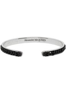 Alexander McQueen Silver & Black Skull Chain Open Bracelet