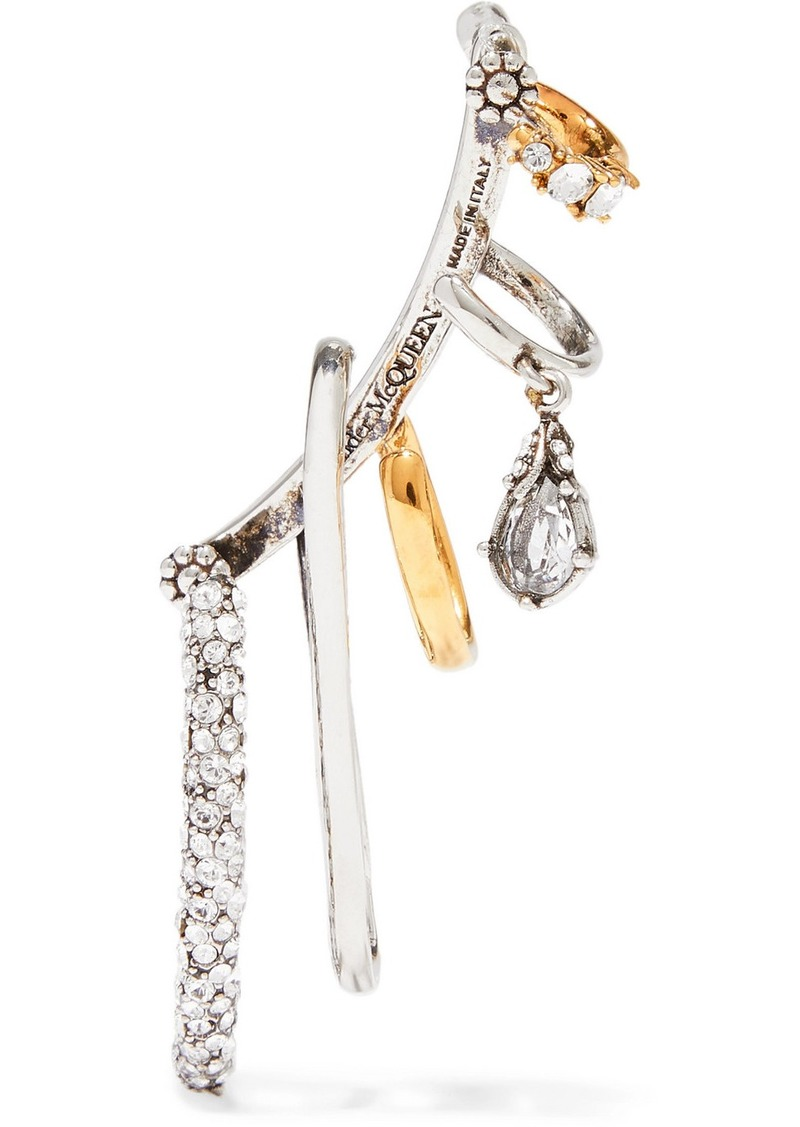 Alexander McQueen Silver And Gold-tone Crystal Ear Cuff