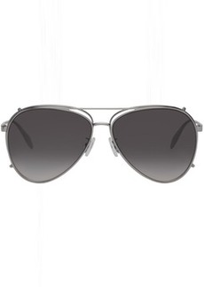 Alexander McQueen Silver Aviator Clip-On Sunglasses