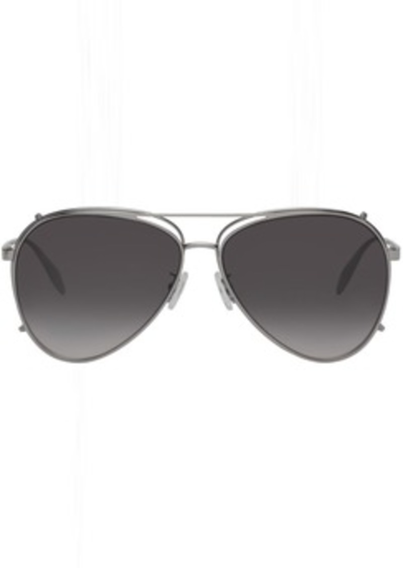 Alexander McQueen Silver Aviator Clip-On Sunglasses