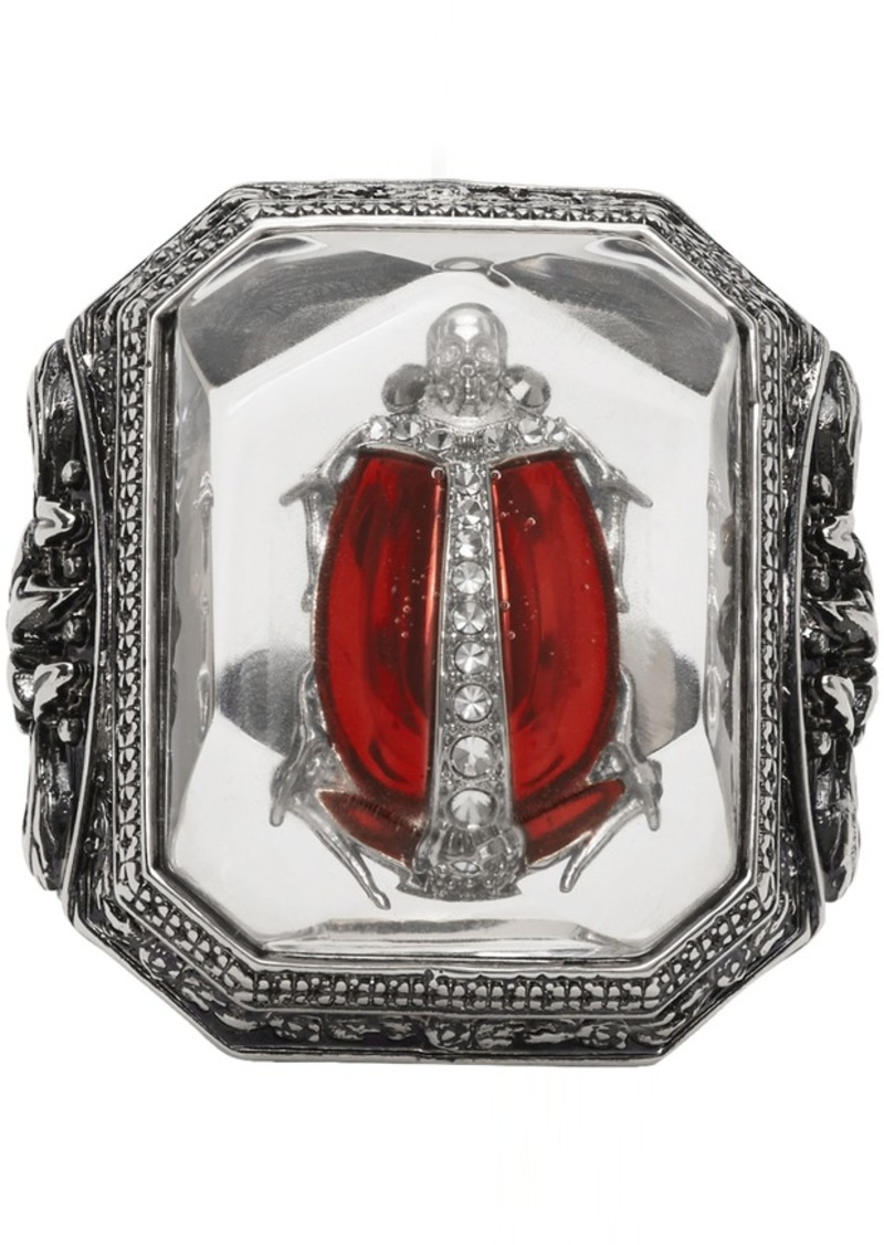 Alexander McQueen Silver Beetle Resin Ring