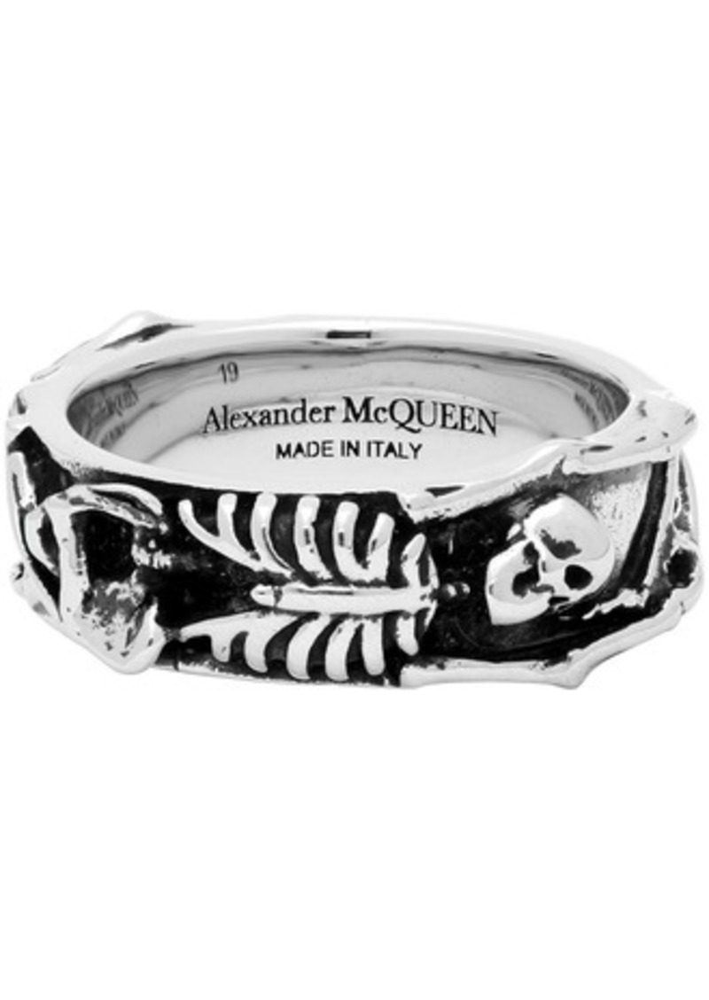Alexander McQueen Silver Dancing Skeleton Ring