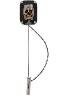 Alexander McQueen Silver Jeweled Skull Pin