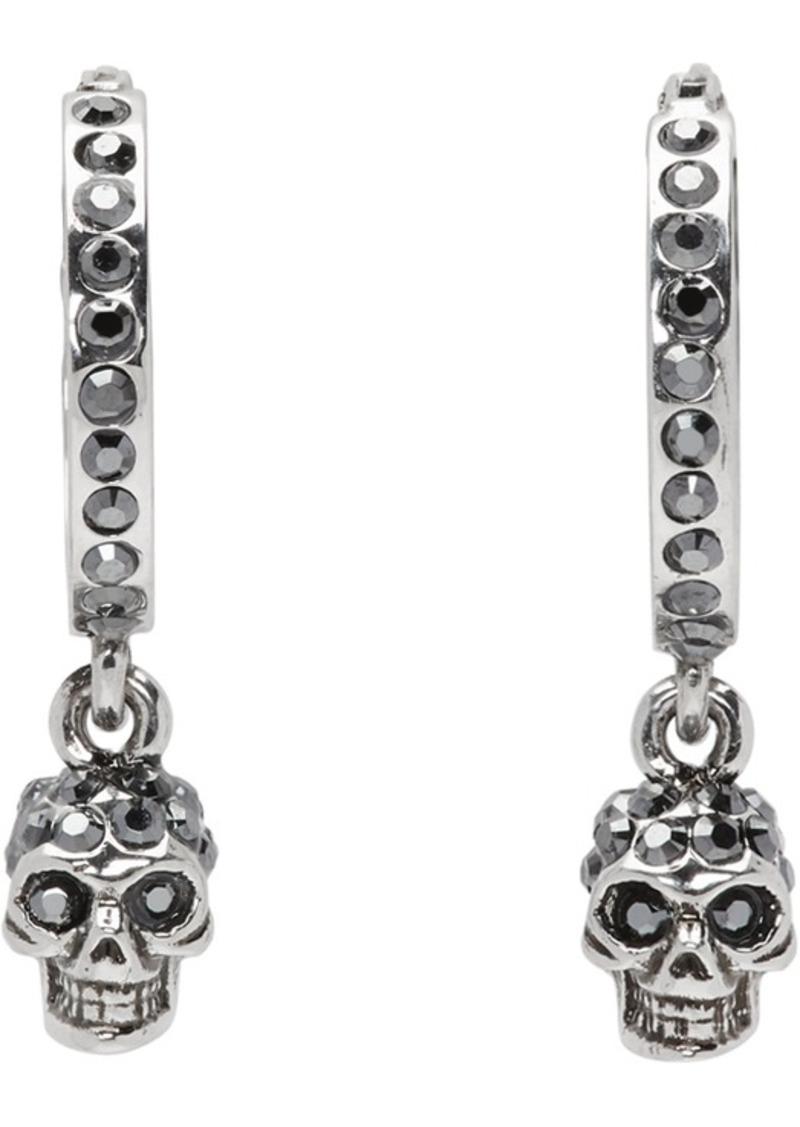 Alexander McQueen Silver Mini Skull Hoop Earrings