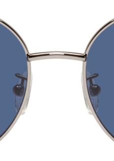 Alexander McQueen Silver Oval Metal Piercing Glasses