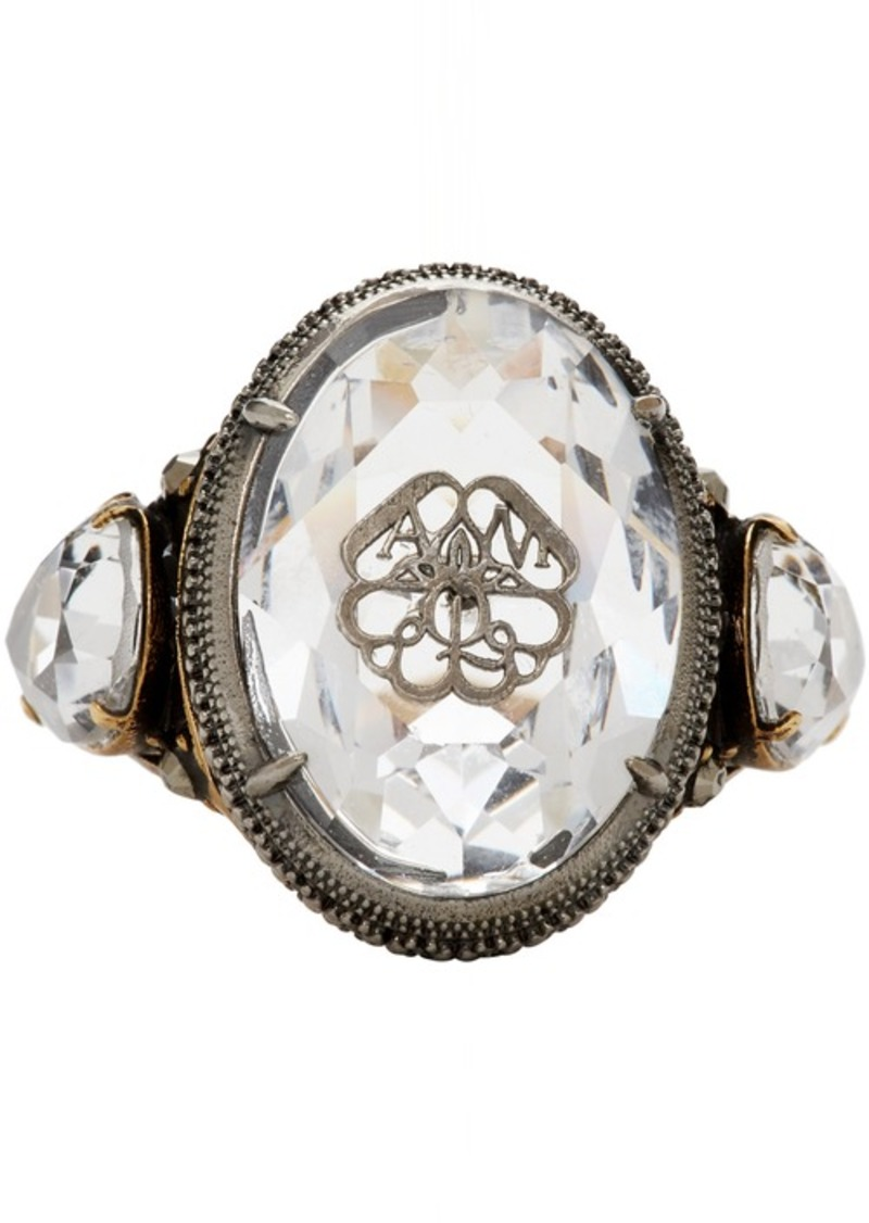 Alexander McQueen Silver Signature Jeweled Ring