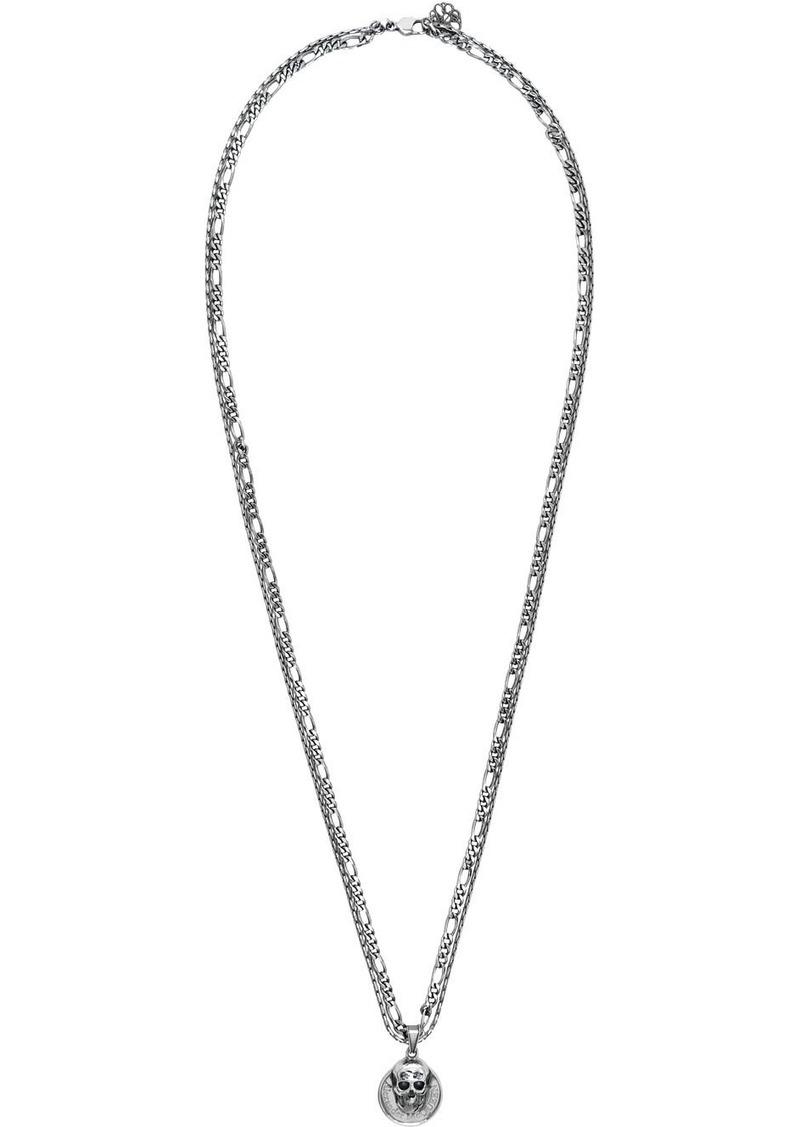Alexander McQueen Silver Skull Coin Necklace