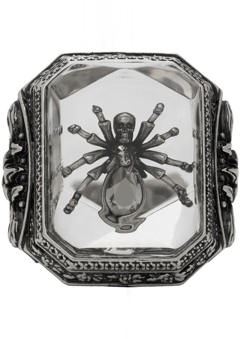 Alexander McQueen Silver Spider Resin Ring