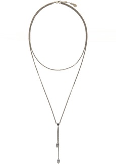 Alexander McQueen Silver Thin Chain Skull Necklace