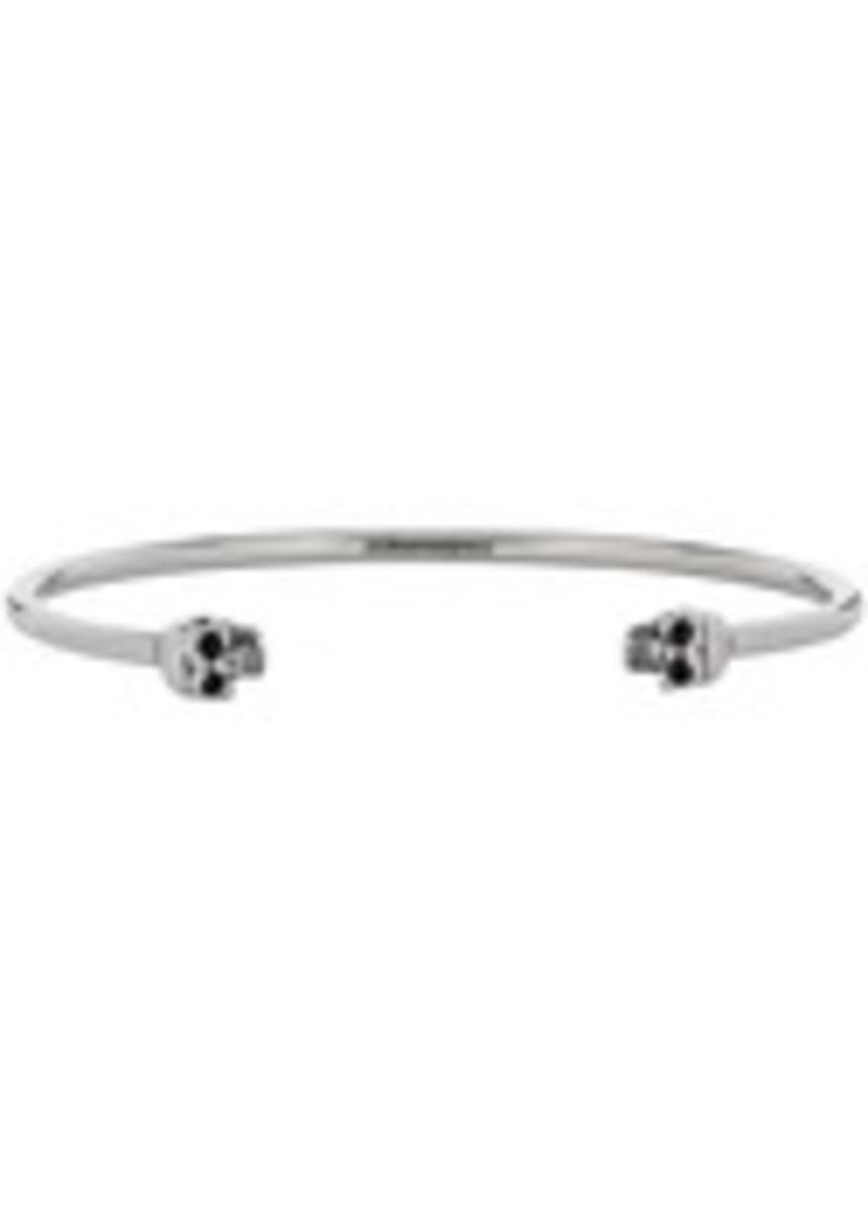Alexander McQueen Silver Thin Twin Skull Bracelet
