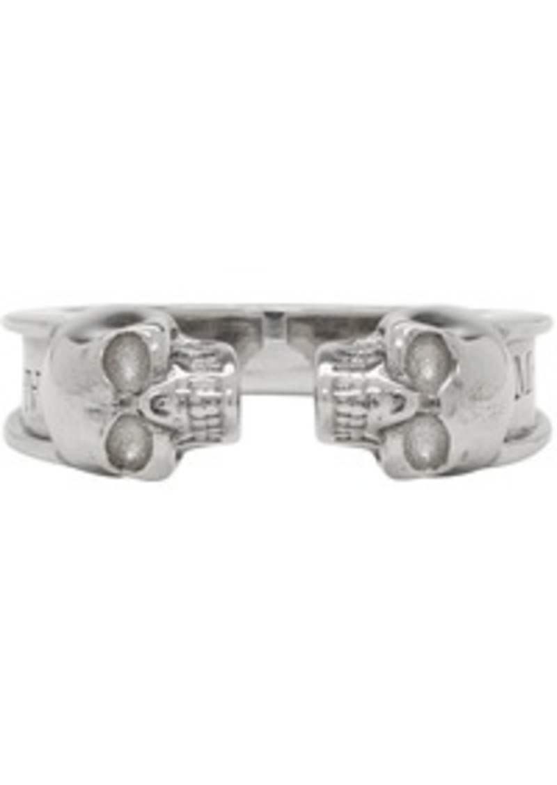 Alexander McQueen Silver Thin Twin Skull Ring