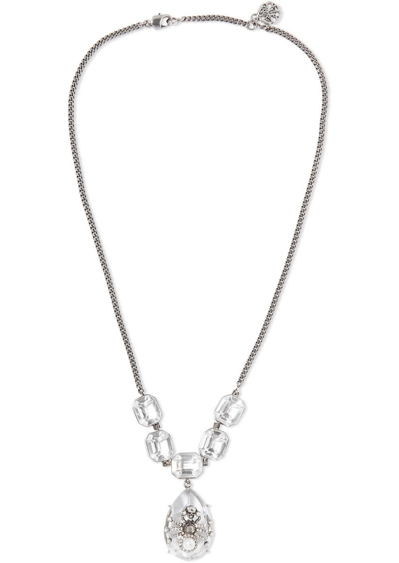 Alexander McQueen Silver-tone, Crystal And Faux Pearl Necklace
