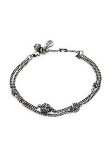 Alexander McQueen Silvertone Multi-Chain Crystal Skull Charm Bracelet