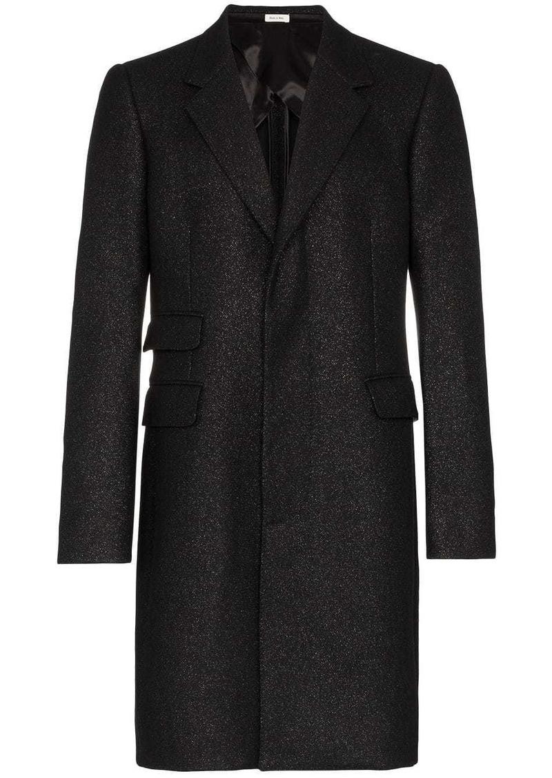 Alexander McQueen single-breasted metallic-thread coat