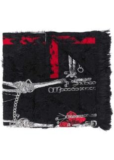 Alexander McQueen skeleton textured scarf
