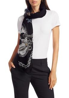 Alexander McQueen Skull Botanical Punk Shawl