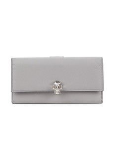 Alexander McQueen Skull-Clasp Leather Continental Wallet