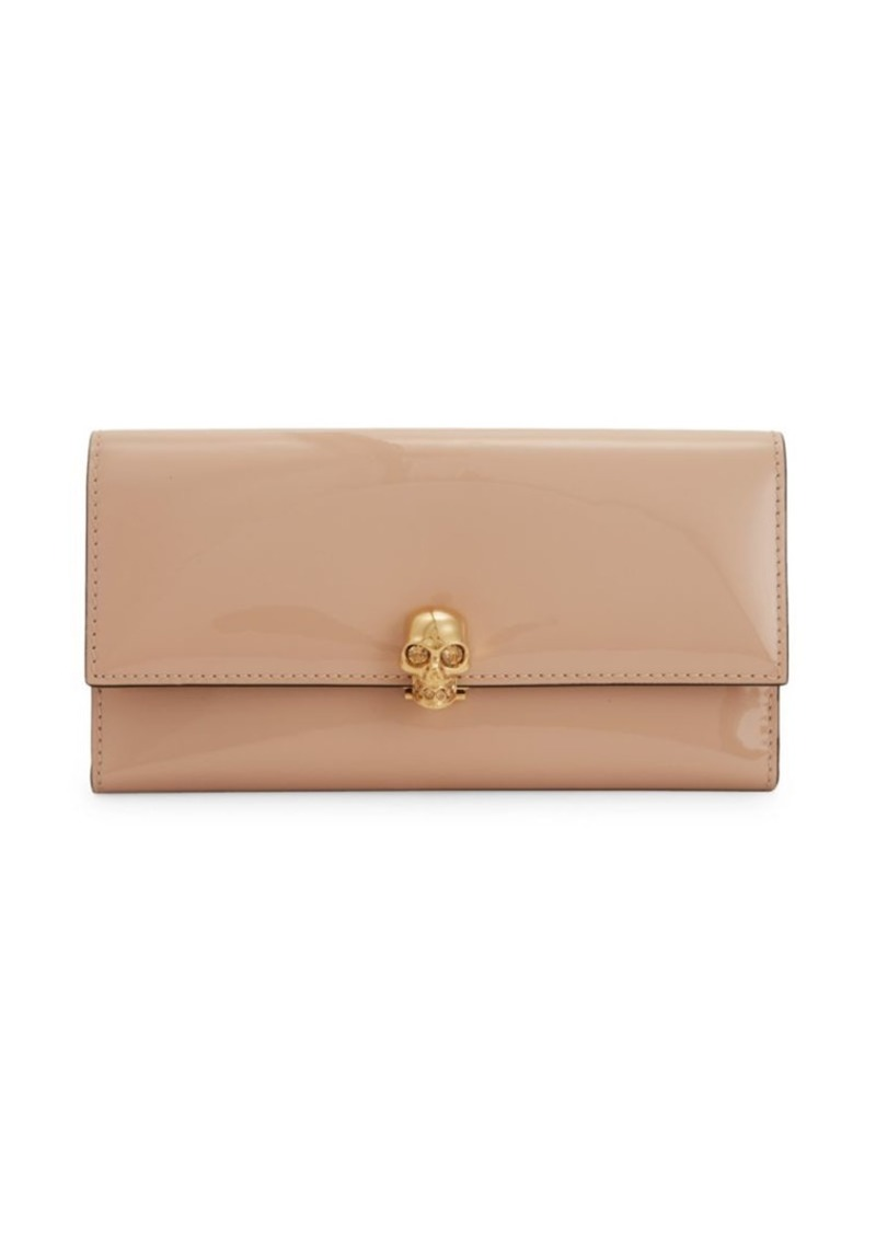 Alexander McQueen Skull-Embellished Patent Leather Continental Wallet