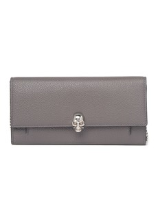 Alexander McQueen Skull Pebbled Wallet with Chain Strap