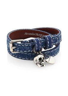 Alexander McQueen Skull Pendant Double Wrap Leather & Cotton Bracelet