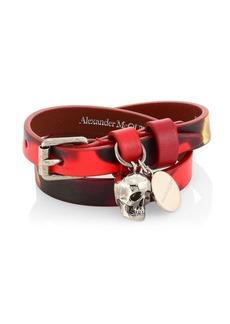Alexander McQueen Skull Pendant Double Wrap Leather Bracelet