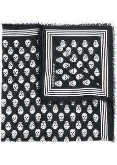 Alexander McQueen skull print frayed scarf