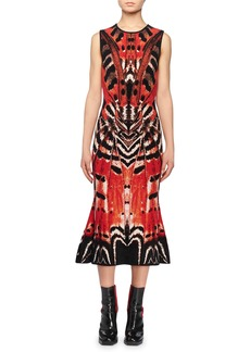 Alexander McQueen Sleeveless Crewneck Engineered Butterfly Jacquard Flared-Hem Dress