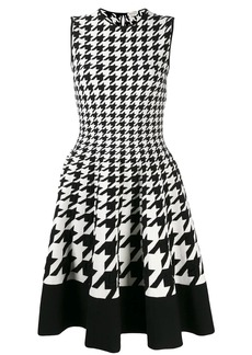 Alexander McQueen sleeveless houndstooth flared dress
