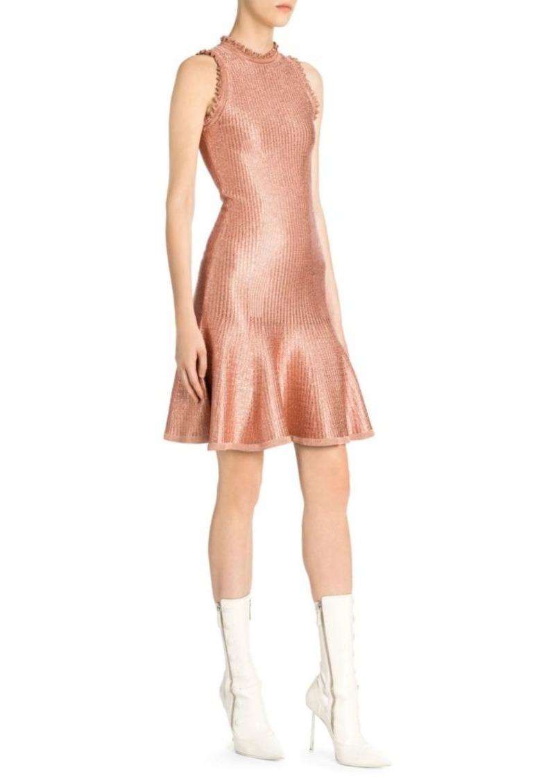 Alexander McQueen Sleeveless Metallic Mini Dress